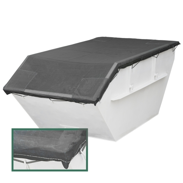 Air permeable tarpaulin with 2 sewed in and reinforced edges in 250g /m² for containers and skips