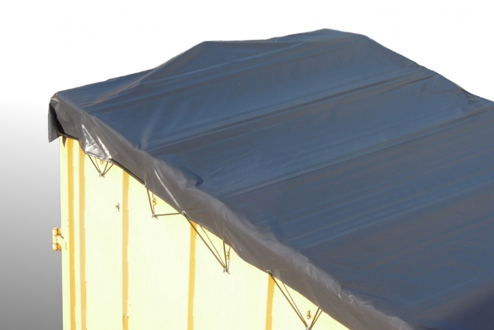 Heavy duty waterproof tarpaulin PVC 630g /m² with wooden supporting profiles