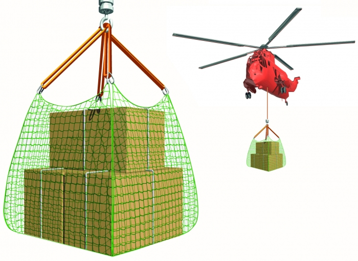 Heavy Duty Rope Cargo Nets 4400 lbs WLL 2000kg Helicopter Crane 100/6