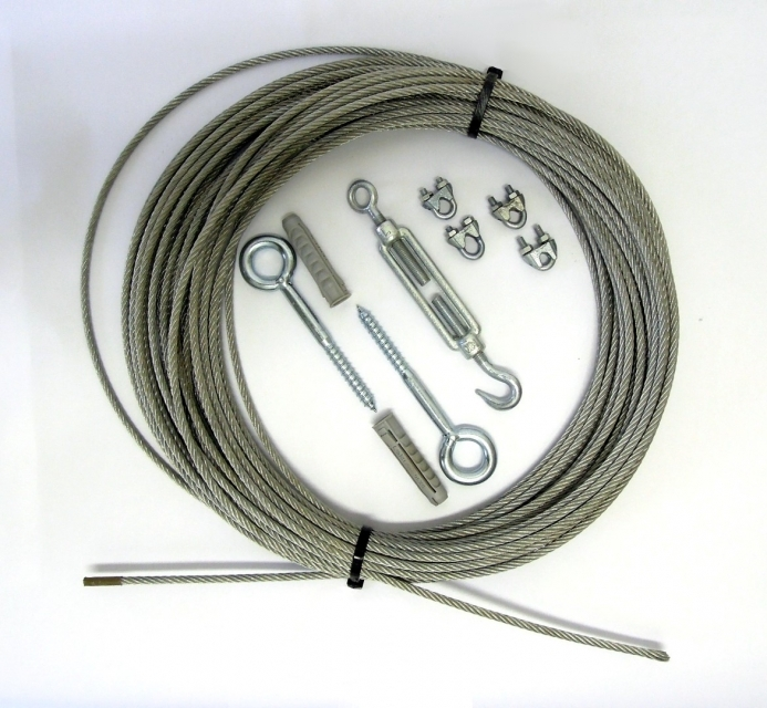 Mounting Set Clamping Set for Curtains | Steel rope Ø 6mm