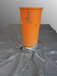 PVC Skip cover tarpaulin with filler for bulk good chutes 630g /m²